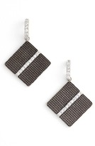 Freida Rothman Rhodium Plated Sterling Silver Contemporary Deco CZ Drop Earrings