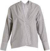 Nili Lotan Sabine V-neck striped shirt