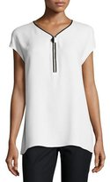 Lafayette 148 New York Zelia Short-Sleeve Double-Georgette Silk Blouse, White, Plus Size