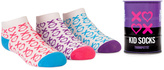 Trumpette Pink Purple & Turquoise 'XO' Tin Can Three-Pair Socks Set