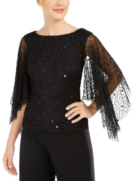 Adrianna Papell Beaded Flutter-Sleeve Top