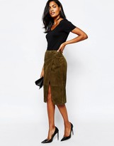Whistles Asymmetric Wrap Skirt in Suede