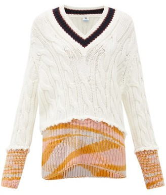 M Missoni V-neck Cable-knitted Sweater - Womens - White