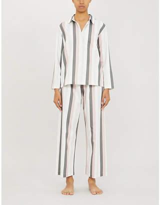 Pour Les Femmes Striped cotton-poplin pyjama set