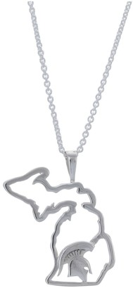Women's Dayna Designs Silver Michigan State Spartans Team State Outline Necklace