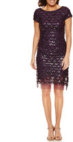 Studio 1 Short Sleeve Sequin Sheath Dress-Petites