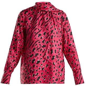 Valentino Leopard Print Silk Blouse - Womens - Pink Print