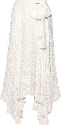 Zimmermann Unbridled Asymmetric Belted Fil Coupe Silk-georgette Maxi Skirt