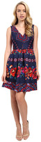 Sangria V-Neck Folklore Print Scuba Fit and Flare