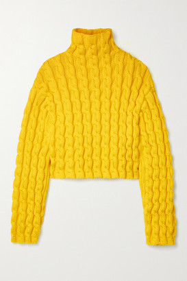 Balenciaga Cropped Cable-knit Turtleneck Sweater - Yellow