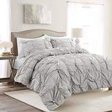 Lush Decor Bella Comforter Set Shabby Chic Style Ruched 3 Piece Bedding with Pillow Shams-King