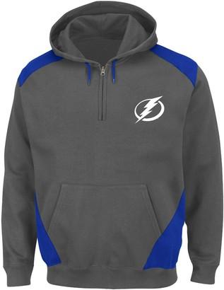 Majestic Men's Charcoal/Blue Tampa Bay Lightning Big & Tall Quarter-Zip Pullover Hoodie Jacket
