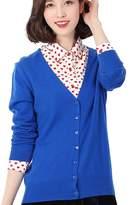 Panreddy Women's Wool Cashmere Classic Cardigan V-Neck XL
