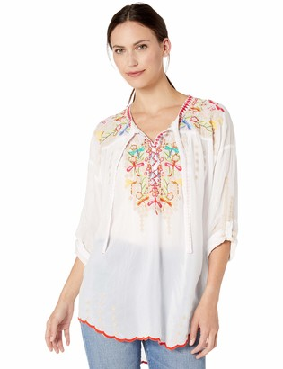 Johnny Was Women's Tie Neck Boho Blouse with Embroidery