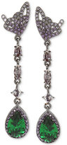 Betsey Johnson Hematite-Tone Butterfly and Green Stone Linear Drop Earrings