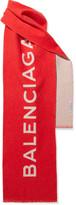 Balenciaga Intarsia Cashmere Scarf - Red