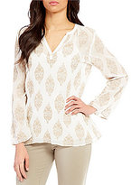 Sigrid Olsen Signature V-Neck Long Sleeve Embroidered Tunic