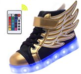Merveilleux Wings Kid Boy Girl Upgraded USB Charging LED Light Sport High-Top Shoes Flashing Sneakers,#K2, Gold and ,31M