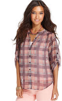 Bar III Top, Long-Sleeve Plaid Shirt