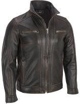 Black Rivet Mens Big & Tall Leather Faded-Seam Jacket