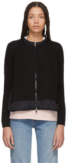 Moncler Black Hem Detail Zip-Up Sweater