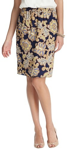 LOFT Lush Floral Print Elastic Waist Pencil Skirt