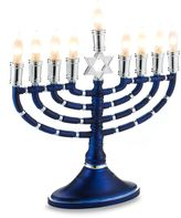 Bed Bath & Beyond Electric Blue and Silver Menorah