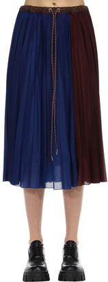 MONCLER GENIUS Plisse Jersey Midi Skirt W/ Drawstring