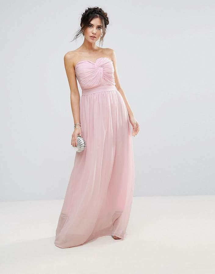 Club L Bridesmaid Chiffon Detail Knot Maxi Dress