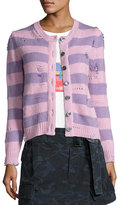 Marc Jacobs Striped Wool-Cashmere Cardigan with Distressing, Pink/Purple