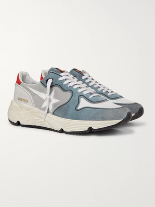 Golden Goose Running Sole Leather-Trimmed Distressed Suede, Canvas, Nubuck And Mesh Sneakers