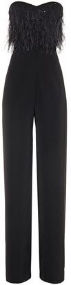 Saloni Aurelie Strapless Sequined Tulle Wide-leg Jumpsuit