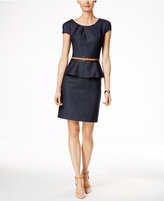 Connected Cap-Sleeve Denim Peplum Dress