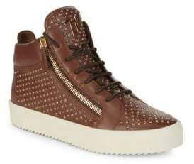 Giuseppe Zanotti Mid-Top Leather Grommet Sneakers