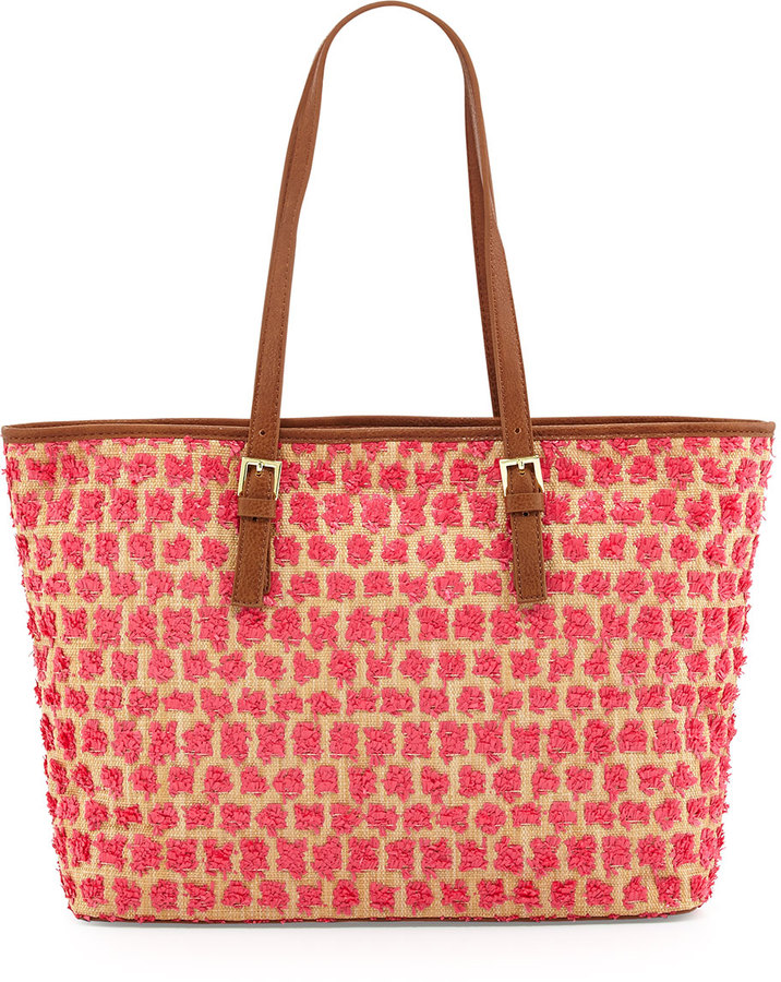 Neiman Marcus Clustered Raffia Straw Tote Bag, Natural/Pink