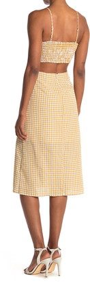 Lost + Wander Mimosa Gingham Cutout Midi Dress
