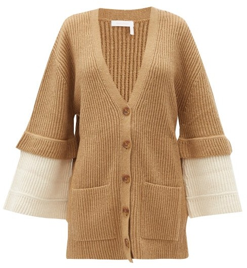 See by Chloe Contrast-cuff Ribbed-knit Cardigan - Beige