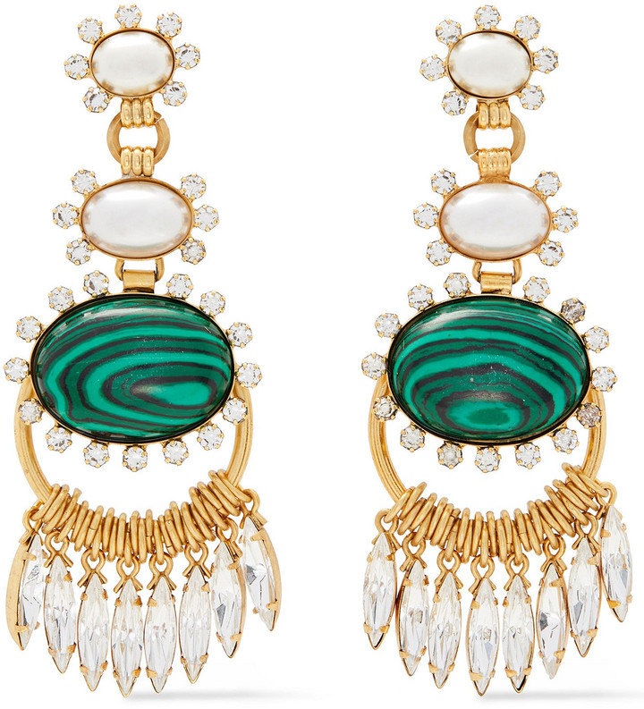 Elizabeth Cole 24-karat Gold-plated, Faux Pearl, Swarovski Crystal And Glass Earrings