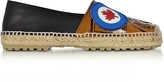 DSQUARED2 Hackney Black and Beige Nappa Leather Flat Espadrilles w/Patches