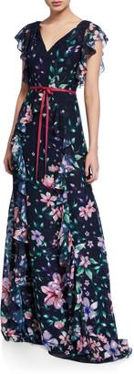 Marchesa Floral Burnout Chiffon V-Neck Cap-Sleeve Gown w/ Ruffle Detailing