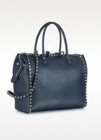 Valentino Garavani Rockstud Large Navy Blue Leather Satchel Bag