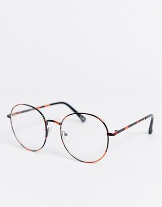 clear Asos Design ASOS DESIGN metal tort lens glasses-Brown