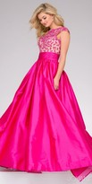 Jovani Keyhole Lace Embroidered Cap Sleeve Ball Gown
