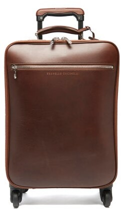 Brunello Cucinelli Grained-leather Carry-on Suitcase - Brown