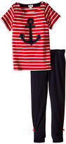 Hatley Anchors Button Tee & Leggings Set (Toddler/Little Kids/Big Kids)
