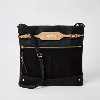 River Island Black pocket large messenger cross body bag
