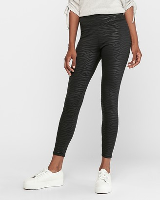 Express High Waisted Zebra Embossed Scuba Ankle Leggings