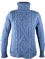 100% Irish Merino Wool Turtle Neck Aran Sweater by West End