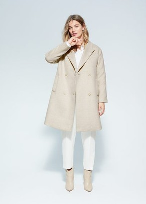 MANGO Violeta BY Checked wool-blend coat beige - XXL - Plus sizes