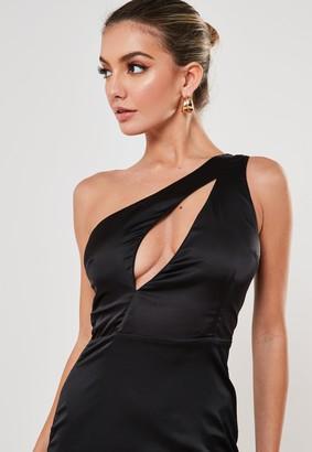 Missguided Black Satin Cut Out Bust Mini Dress